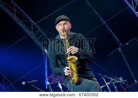 MOSCOW - JUNE 14: Balkan Beat Box group performs at XI International Jazz Festival