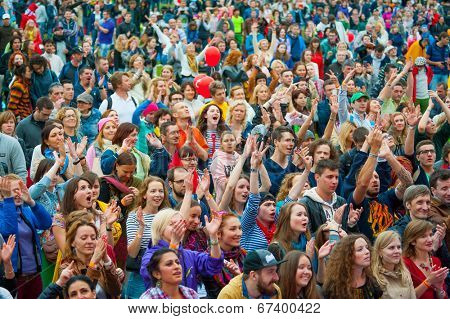 MOSCOW - JUNE 15: People cheering at open-air concert on XI International Jazz Festival