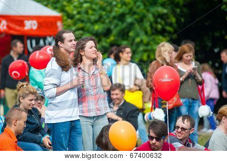 MOSCOW - JUNE 15: People attend open-air concert on XI International Jazz Festival
