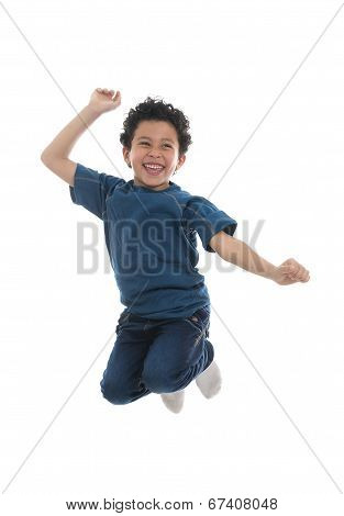 Active Happy Boy Jumping With Joy