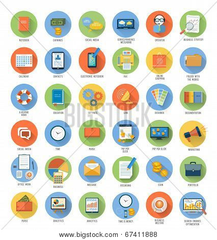 Business, Office And Marketing Items Icons.