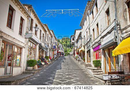 Main street  of historic town Gjirokasteron  in Gjirokaster, Albania. World Heritage Site by UNESCO.