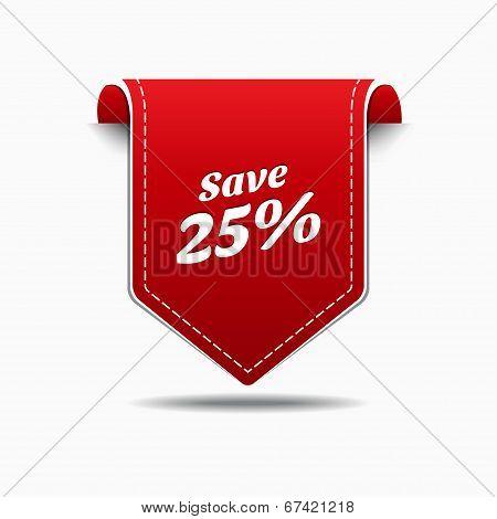 Save 25 Red Label Icon Vector Design