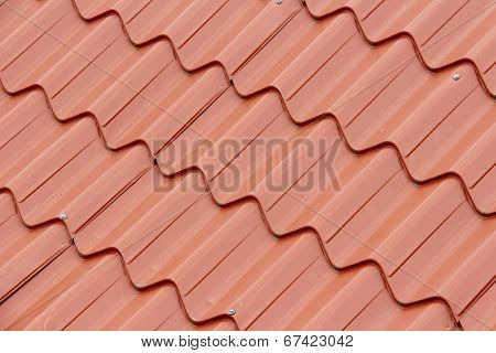 Tiled red roof background - Angled