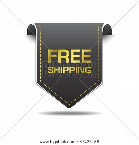 Free Shipping Gold Black Label Icon Vector Design
