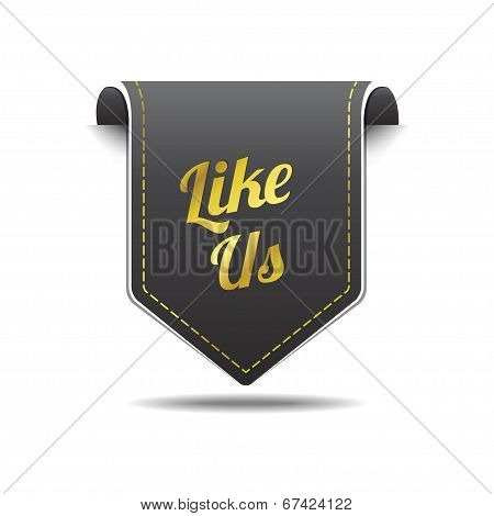 Like Us Gold Black Label Icon Vector Design