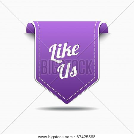 Like Us Purple Label Icon Vector Design