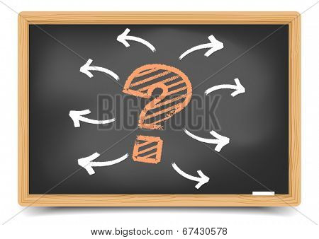 detailed illustration of a questionmark with arrows on a Blackboard, eps10 vector, gradient mesh included