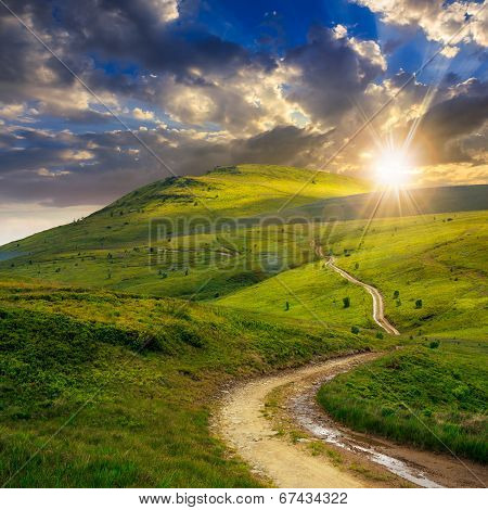 Mountain Path Uphill To The Sky At Sunset