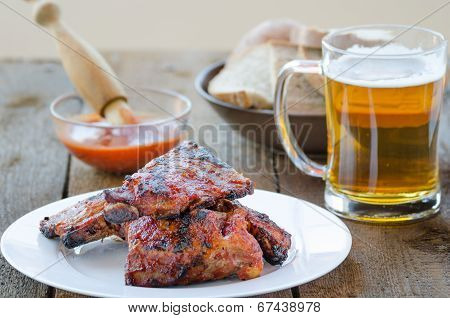 Spareribs On Grill With Hot Marinade, Czech Beer