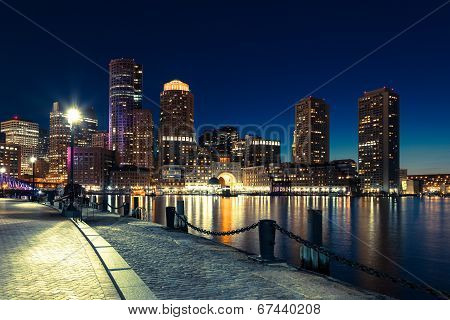 Boston Skyline By Night - Massachusetts - Usa