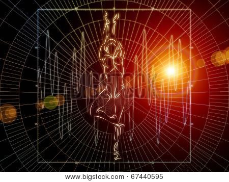 Strange Geometry series. Backdrop design of line drawing math and geometry related elements to provide supporting composition for works on mathematics science education and technology poster