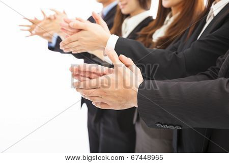 Business People Applauding On Isolated White Background