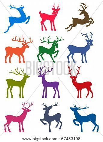 Twelve Colored Deer Vector Silhouettes