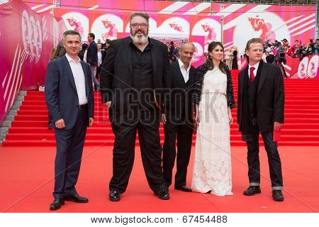MOSCOW - JUNE, 19: Actor Kristian Nairn (Hodor, Game of Trones) singer Jace Everett. 36th Moscow International Film Festival. Opening Ceremony at Pushkinsky Cinema . June 19, 2014 in Moscow, Russia