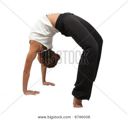 Woman Doing Yoga Over White