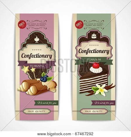 Sweets vintage banners vertical