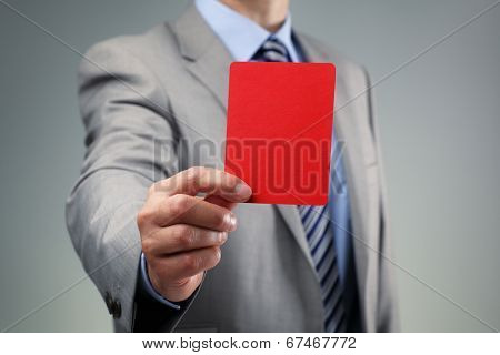Showing the red card concept for bad business practice, exclusion or criminal activity poster