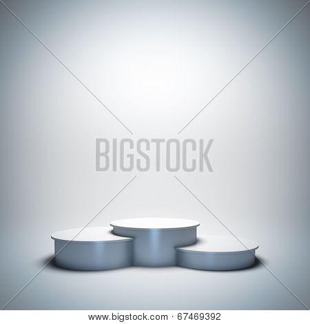 3d render illustration blank template layout of white empty sport winner podium.