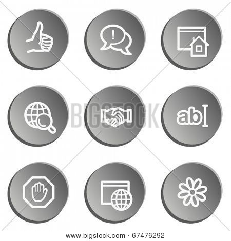 Internet  web icon set 1, grey stickers set