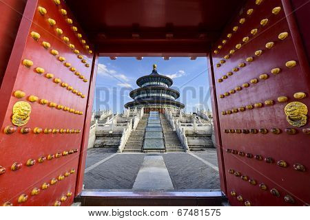 Beijing, China at Temple of Heaven. poster