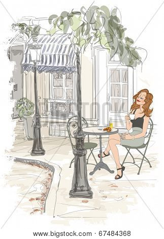 Montmarte in Paris - woman on holiday having breakfast at a terrace of an hotel - vector illustration