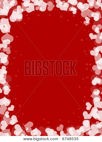 abstract white hearts shape in red background