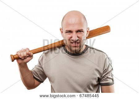 Violence and aggression concept - furious angry man hand holding baseball sport bat