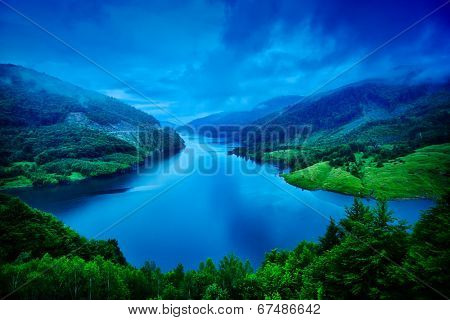 beautiful landscape from Siriu barrage, Buzau, Romania poster