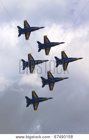US Navy Blue Angels F-18 Hornet planes perform in air show during Fleet Week 2014