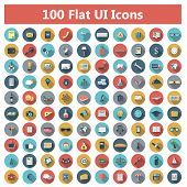 Set of modern icons in flat design with long shadows and trendy colors for banners, covers, corporate brochures, logos, mobile applications, business, social networks etc. Vector eps10 illustration poster