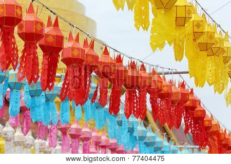 Yee Peng Festival Decoration With Lantern, Thailand