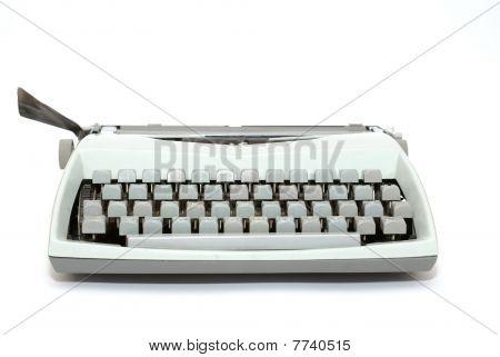 Blue Typewriter Isolated On The White Background