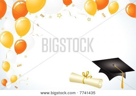 Graduation Celebration Balloons Cap and Diploma