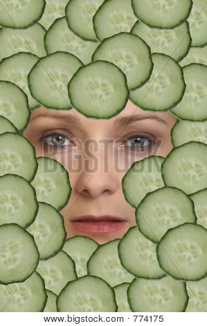 woman face cucumber