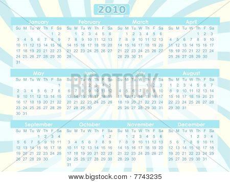 2010 Swirl Blue 12 Month Calendar  Vector