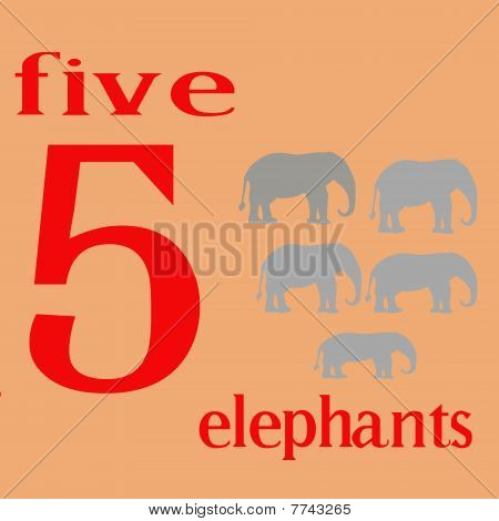 Five Gray Elephants