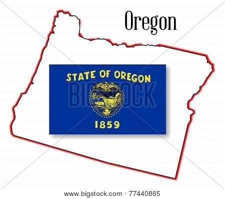 Oregon State Map And Flag