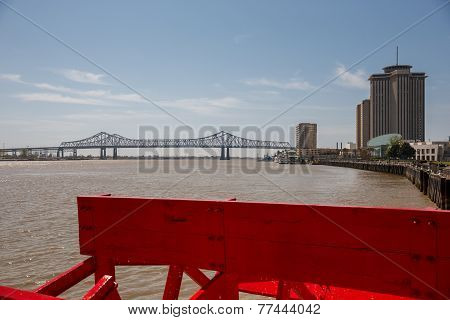 New Orleans - Paddlewheel, Bridge And Buildings