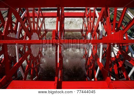 New Orleans - Red Paddlewheel In Motion
