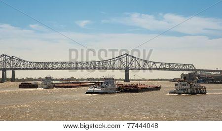 New Orleans - Barge Traffic On Mississippi River