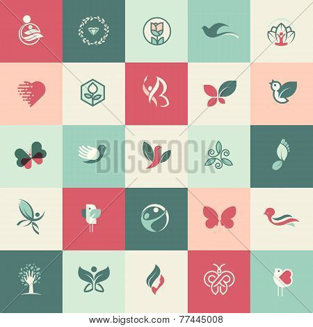 Set of flat design beauty and healthcare icons