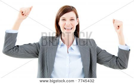 Nice Businesswoman Punching The Air