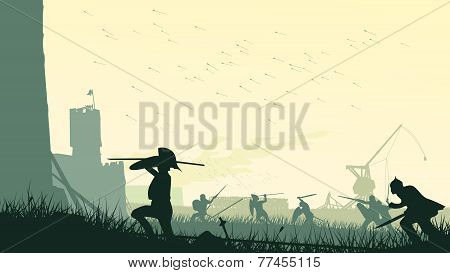 Vector Illustration Of Assault Of Medieval Castle.