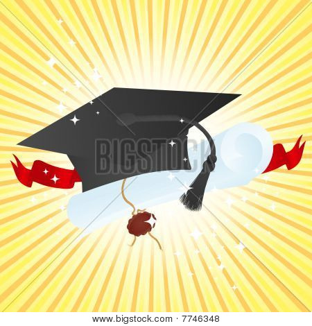 Illustration of the Education theme: graduate hat and diploma poster