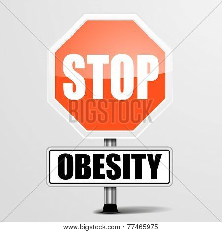 detailed illustration of a red stop obesity sign, eps10 vector