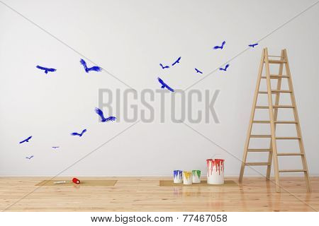Birds painted as wall decal in a room during renovation (3D Rendering)
