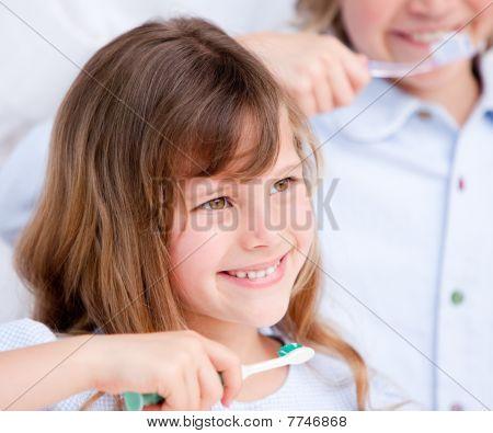 Caucasian Child Brushing His Teeth