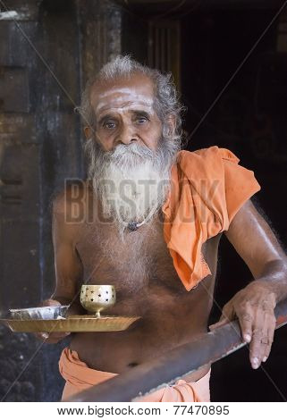 The Guru At The Niruthi Shiva Lingam In Thiruvannamalai.