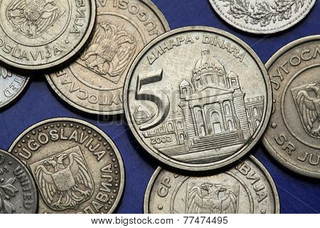Coins of Yugoslavia. House of the Parliament of Yugoslavia in Belgrade depicted on the Yugoslav five novi dinar coin (2002).